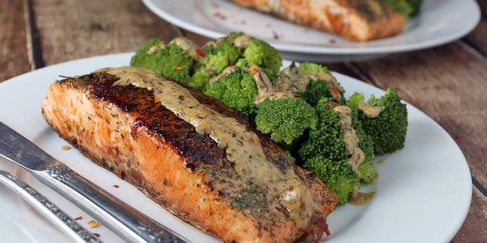Salmon with Tarragon Dill Cream Sauce