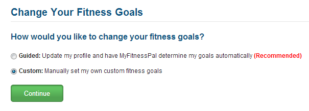 Change MyFitnessPal Goals