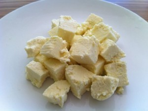 Chop the paneer into cubes