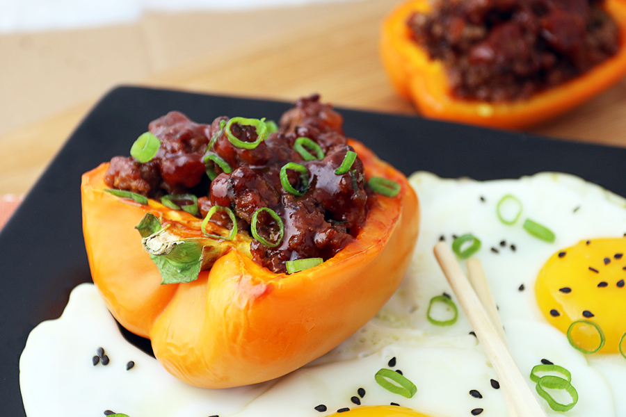 Korean BBQ Beef Stuffed Bell Peppers | Ruled Me