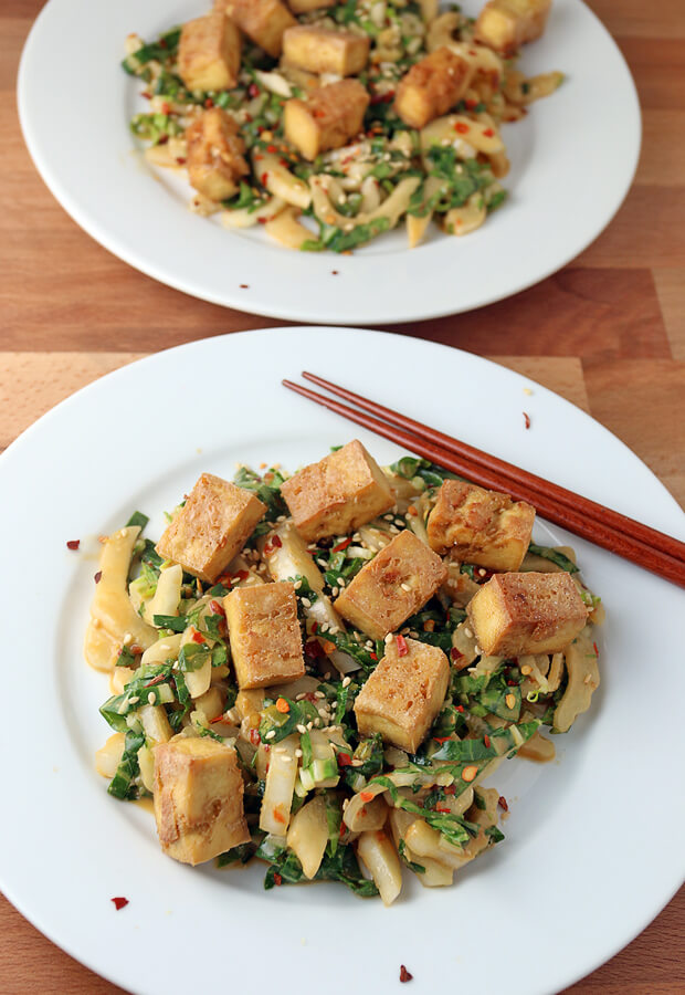 A crispy tofu and bok choy salad is a delicious #keto treat that anyone can make! Shared via www.ruled.me/