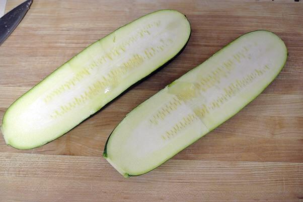 1Cut zucchini in half