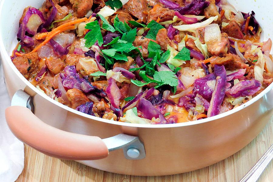 Spicy Sausage & Cabbage Skillet Melt