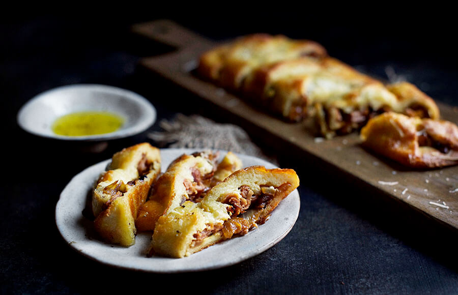 Prosciutto, Caramelized Onion, and Parmesan Braid