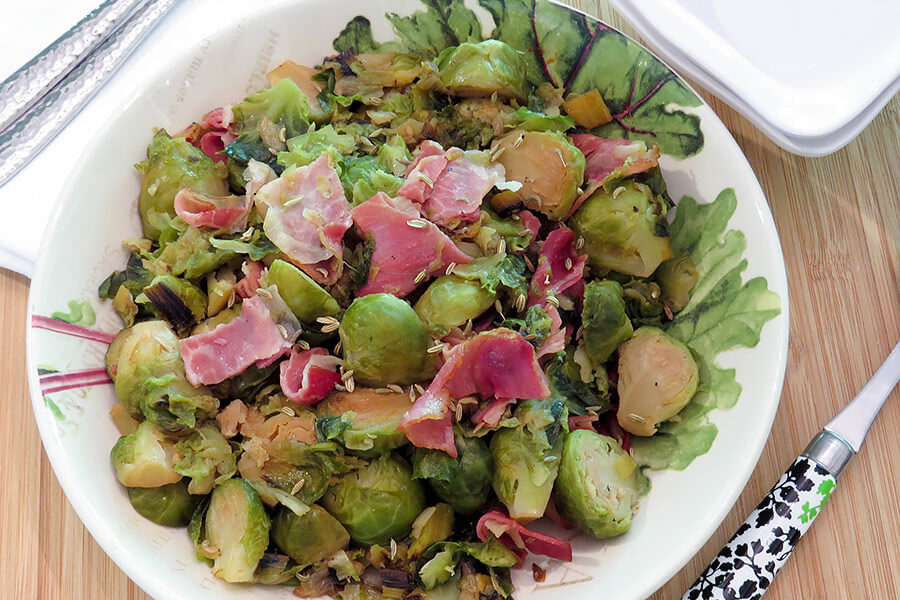 Brussels Sprouts with Melted Leeks and Prosciutto