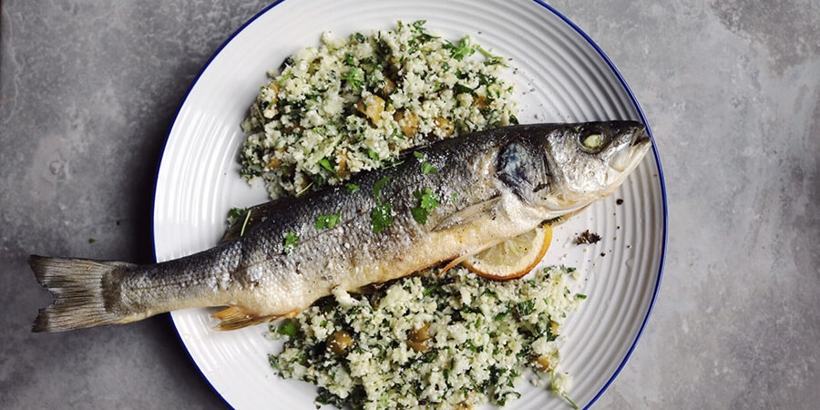 Baked Sea Bass with Herb Cauliflower Salad
