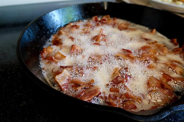 Eggplant and Bacon Alfredo
