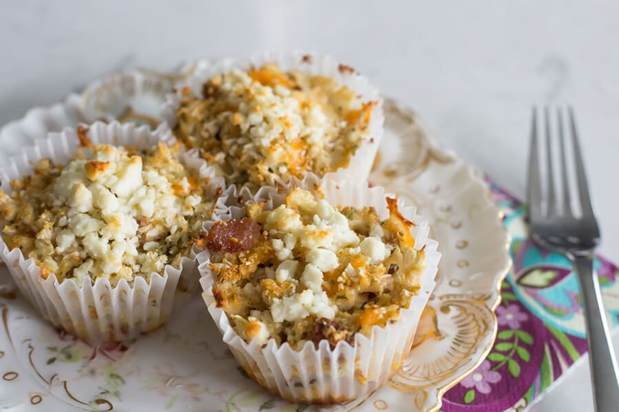 Bacon & Cheese Cauliflower Muffins