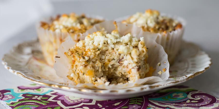 Bacon & Cheese Cauliflower Muffins