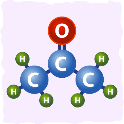Example of the acetone molecule