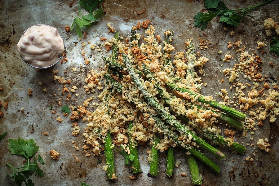 Asparagus Fries with Red Pepper Aioli