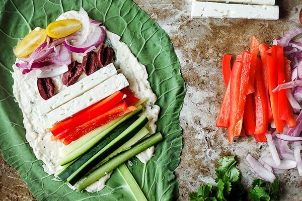 Vegetarian Greek Collard Wraps